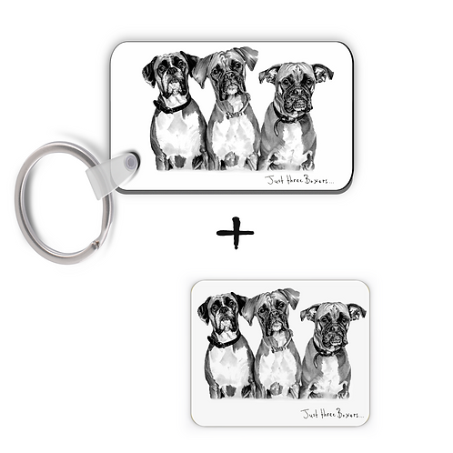 Just Three Boxers - Keyring & Magnet Gift Set