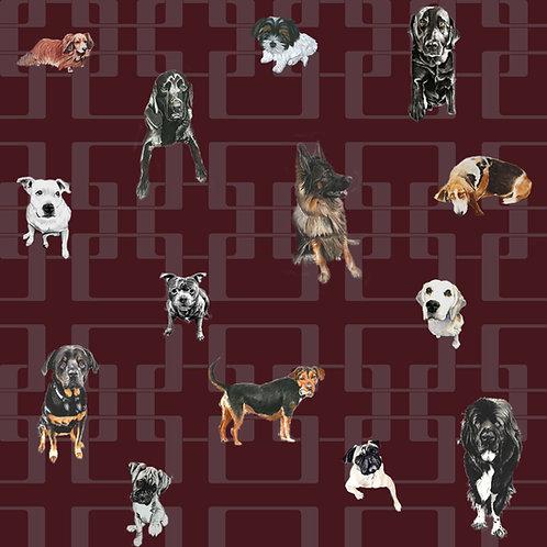 Doggy Mixtures - Premium Wallpaper - Burgundy & Mauve