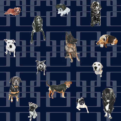 Doggy Mixtures - Premium Wallpaper - Breton Blue