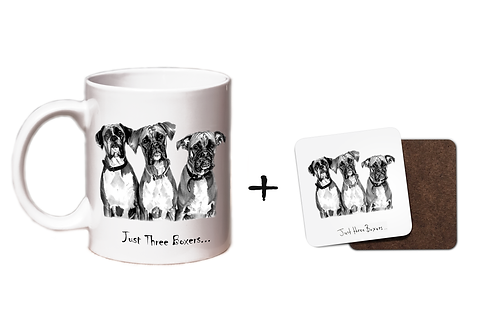 Just Three Boxers - Mug & Coaster Gift Set