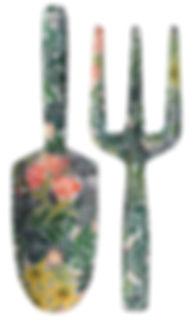 Sturdy Aluminum Hand Fork and Trowel Garden Set, William Morris Green