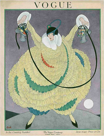 Vogue cover June 1917 Woman in Green Frills - By George Wolfe Plank