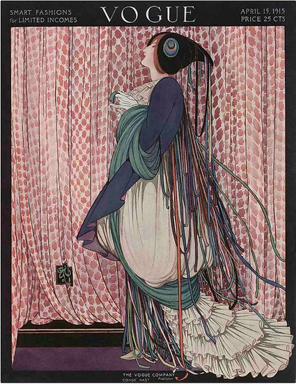 Vogue April 1915 A Woman with Ribboned Dress - George Wolfe Plank