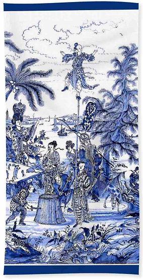 Chinoiserie Blue Scene Beach Towel