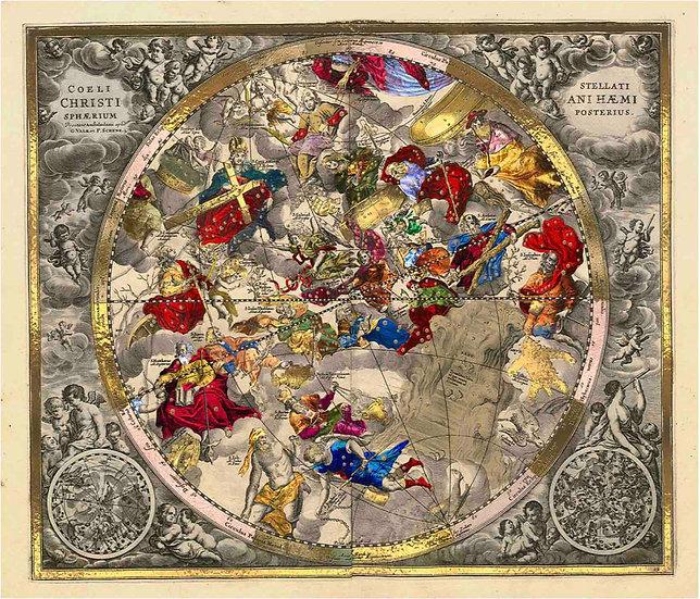 Celestial Luxury Gold Edition - Andreas Cellarius Chart Haemisphaerium Posterius