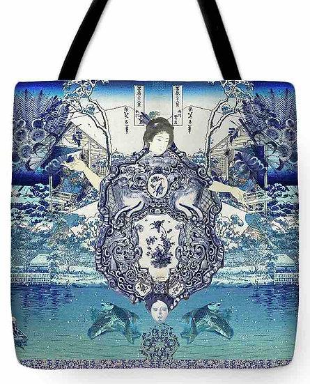 Chinoiserie Blue Geisha Tote Bag