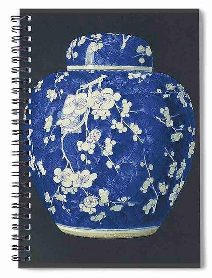 BLUE AND WHITE PORCELAIN POT EARTHEN JAR CHINA CERAMICS SPIRAL NOTEBOOK