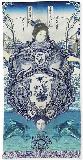 Chinoiserie Blue Geisha Beach Towel