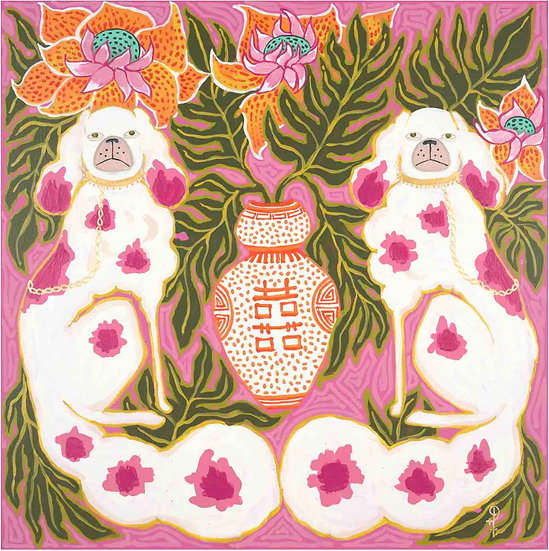 STAFFORDSHIRE DOGS PINK AND ORANGE