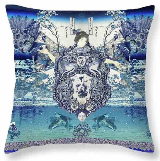 Chinoiserie Blue GeishaThrow Pillow