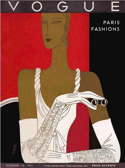 A Vintage Vogue Magazine Cover Of A Woman