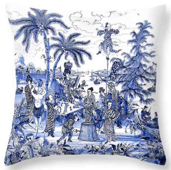 Chinoiserie Blue Scene Throw Pillow