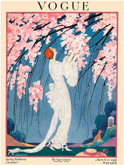 Vogue March 1919 A Woman and Cherry Blossoms - Helen Dryden