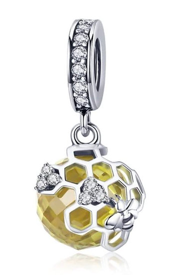 STERLING SILVER BEE HONEYCOMB BALL PENDANT