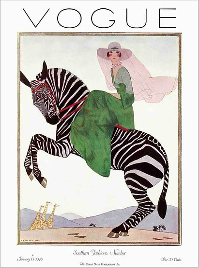 Vogue January 1926 Woman on a Zebra - Andre E. Marty