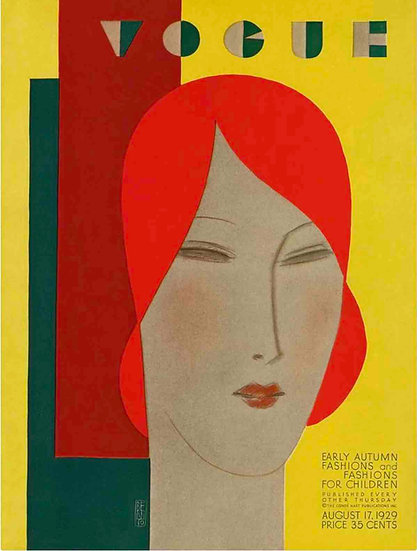 Vogue cover August 1929 Woman with Red Hair - Eduardo Garcia Benito