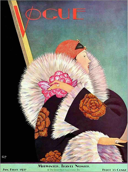 Vogue, January 1927 Woman with a Fur Collar - George Wolfe Plank
