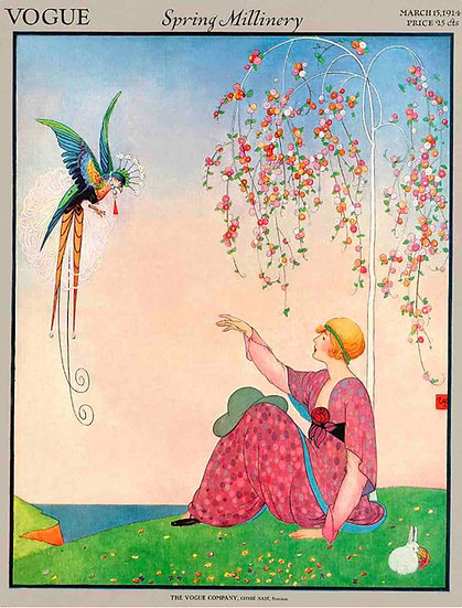 Vogue March 1914 A Woman with a bird and blossoms - George Wolfe Plank