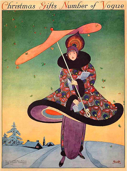 Vogue cover December 1913 A Woman with an Umbrella - George Wolfe Plank