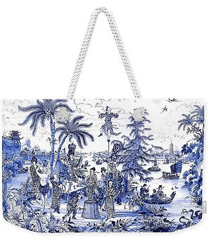 CHINOISERIE BLUE SCENE WEEKENDER TOTE BAG
