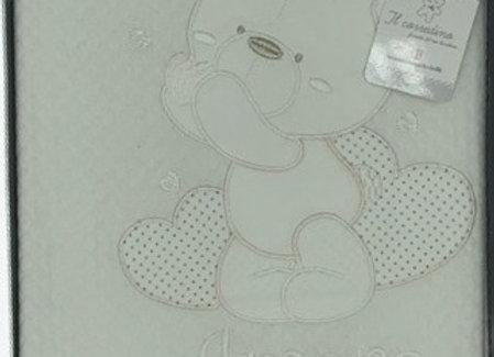 Copertina neonato in morbido cotone ricamata NAZARENO GABRIELLI