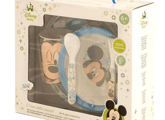Disney Mickey, Set tavola, 5 unità, Melamina, Azzurro, 6+ mesi