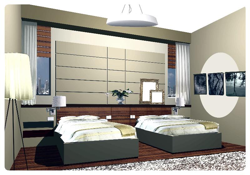 הדמיית חדר שינה למלון