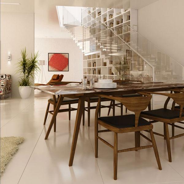 פשוט עיצוב מושלם. הפיסוליות של השולחן והכיסאות, העץ עם ריפוד העור השחור, משחק עם אלכסונים וצורות גאומטריות. נהדר!