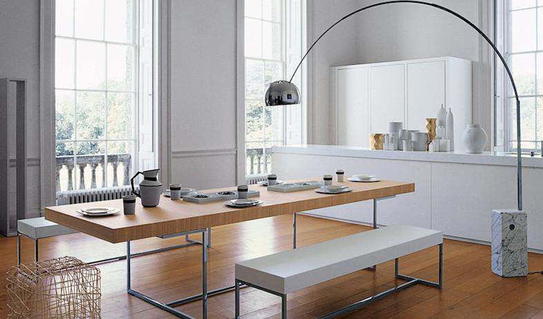 השילוב הקדוש של עץ, צבע לבן ורגלי ניקל צרות . שולחן אוכל מודרני במיטבו