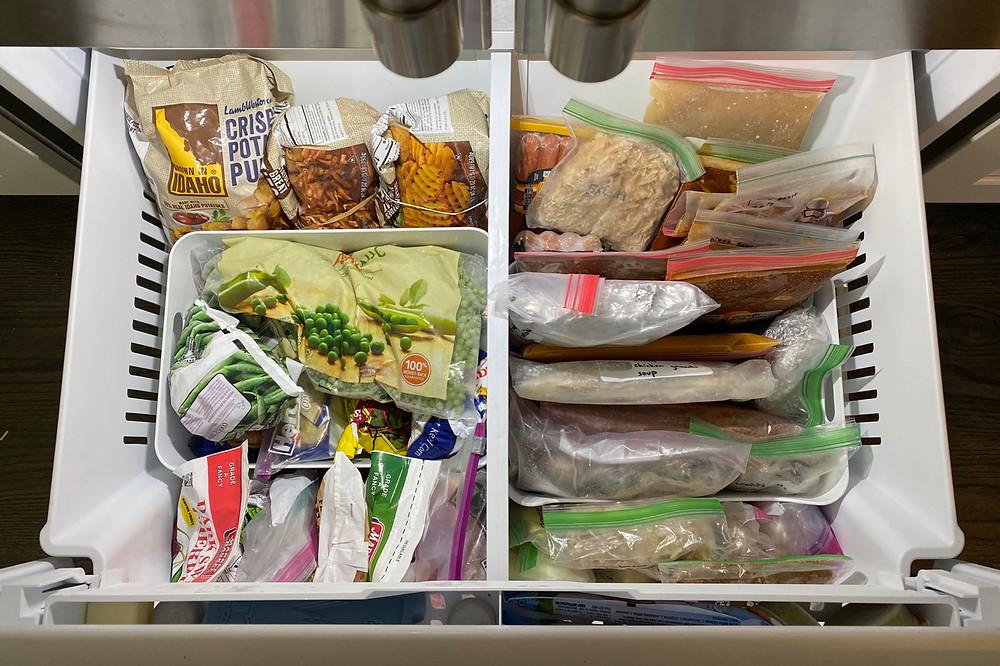 freezer organization; drawer freezer organizing, how to organize a freezer