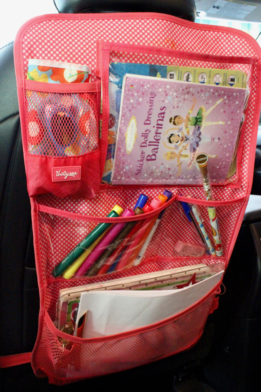 car organization, professional organizing, keeping kids entertained in the car, Usborne sticker books, Thirty-One