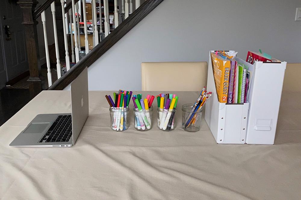 homeschooling set up; home school work station  in dining room