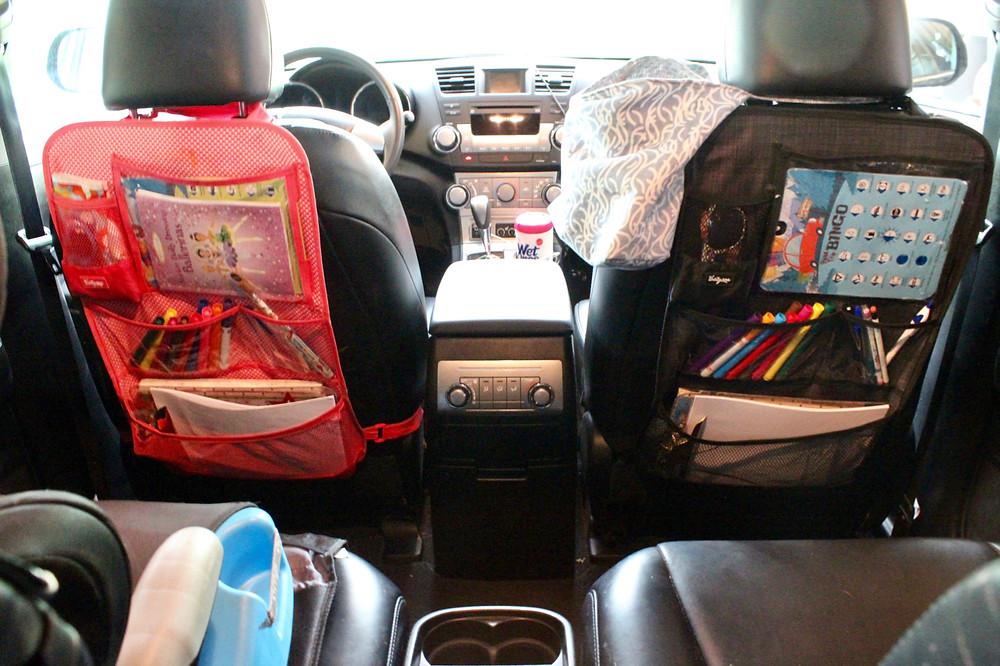 car organization, how to organize the car, trash bin for car, keeping kids busy in the car