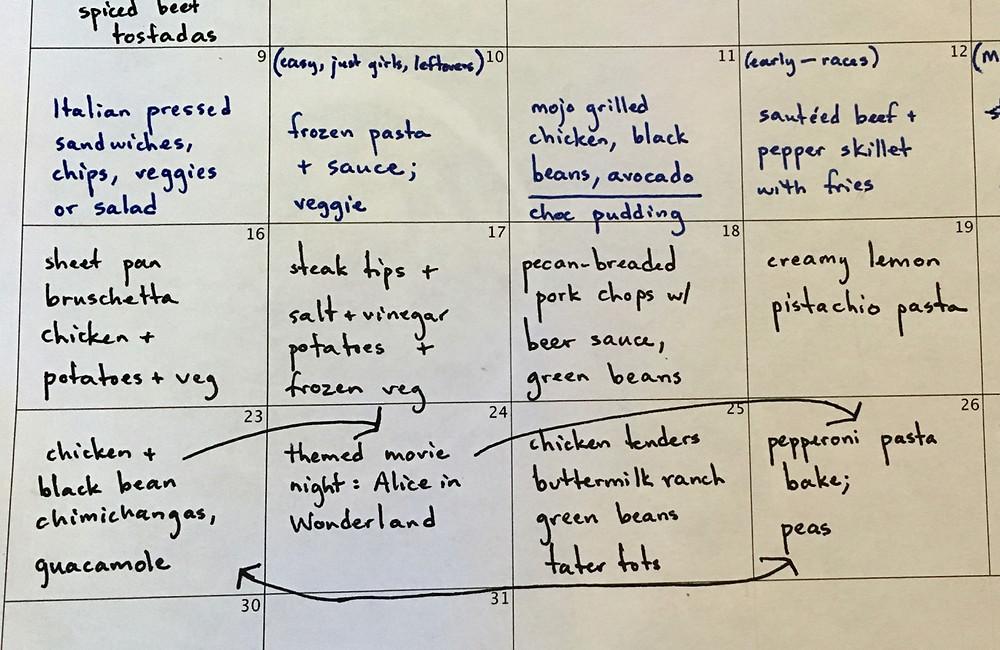 meal planning, menu plan, professional organizer, planning dinner