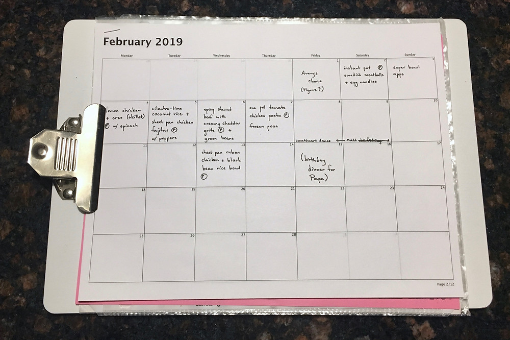 meal planning, professional organizer, weekly dinners, planning meals