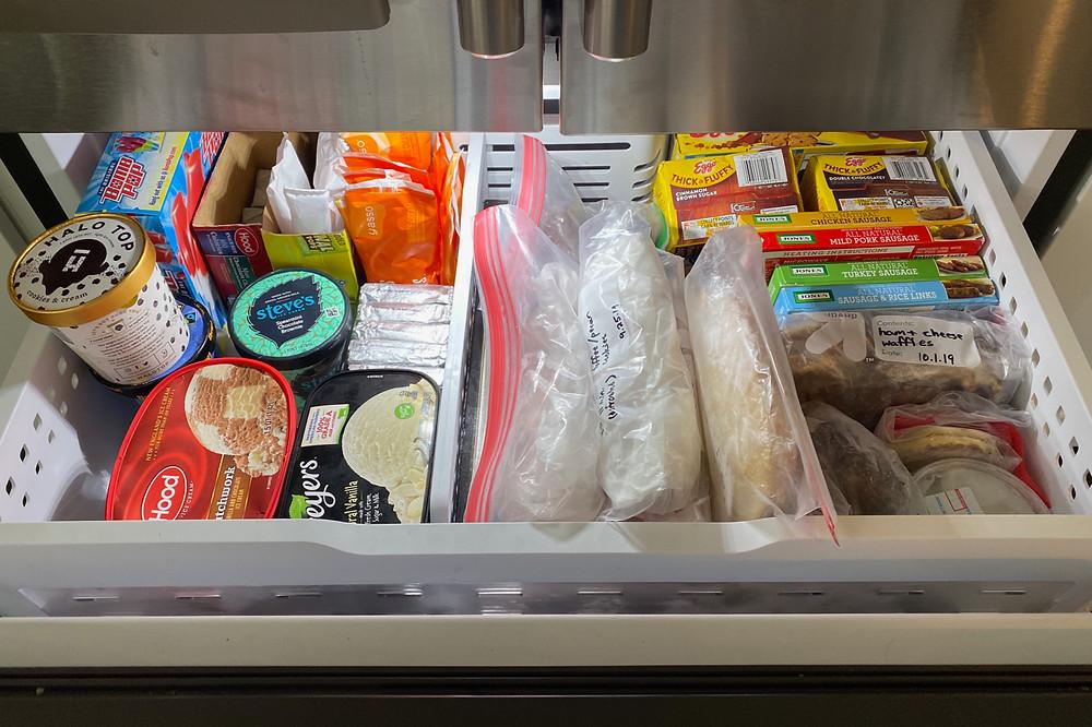 organizing a freezer drawer