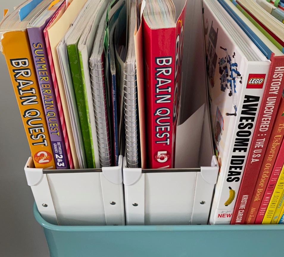 magazine file; home school papers; homeschool organizing
