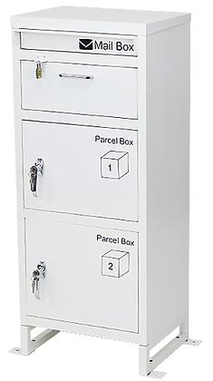 スチール製 宅配ボックス3段 ホワイト