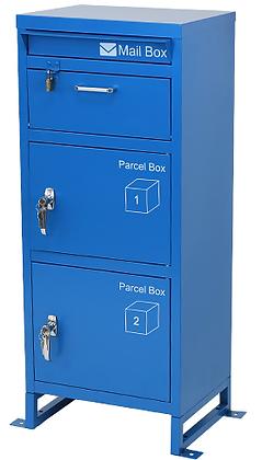 スチール製 宅配ボックス3段 ブルー