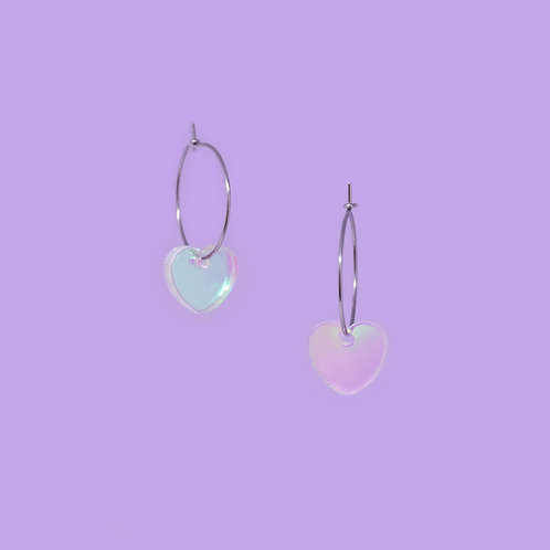 Mini Iridescent Heart Hoops