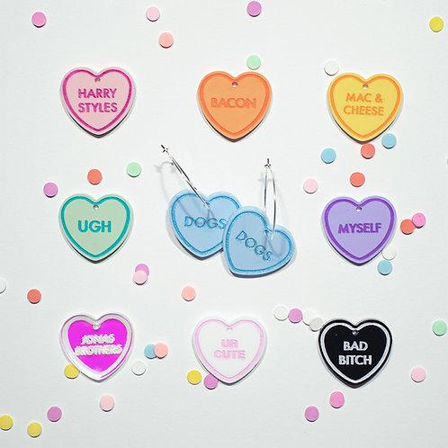 Custom Message Sweet Heart Hoops