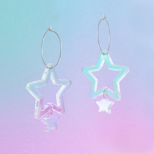 Iridescent Double Star Hoops