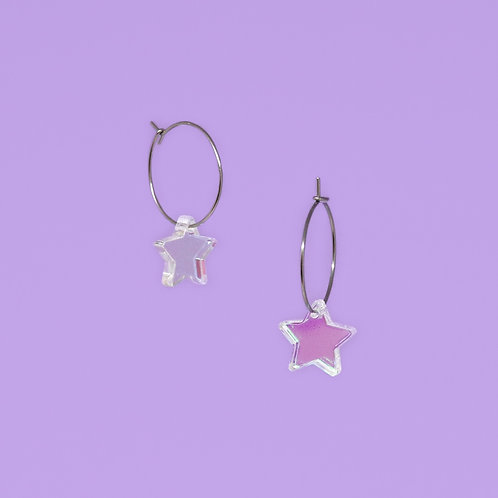 Mini Iridescent Star Hoops