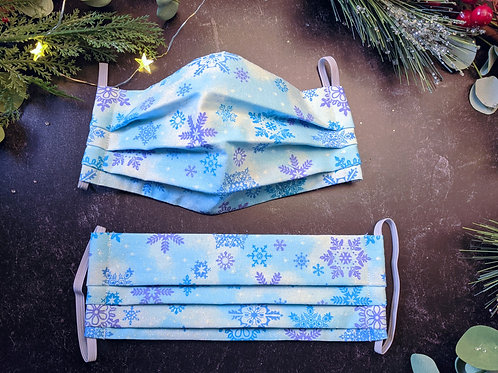 Purple and Icy Blue Snowflakes Mask