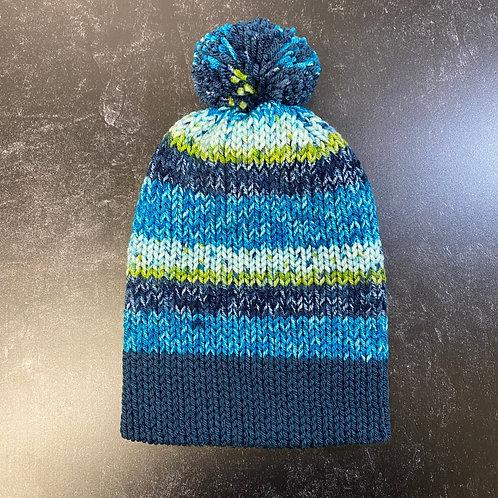 Handmade Beanie - Blue Stripes