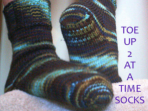 2-at-a-Time Toe Up Socks - KW