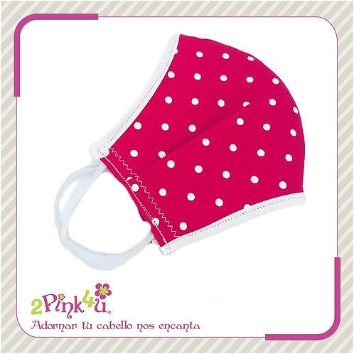 Cubrebocas big polka dots rosa