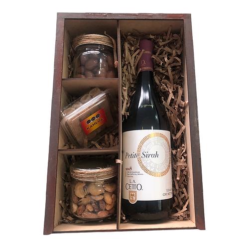Tinto Sirah con nueces , chocolate y borrachitos de Kahlúa