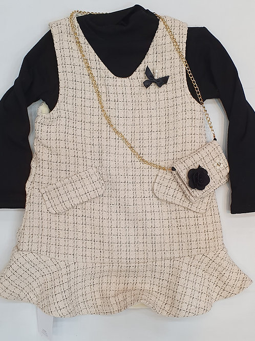 Girls One Piece Frock With  T- Shirt And Bag