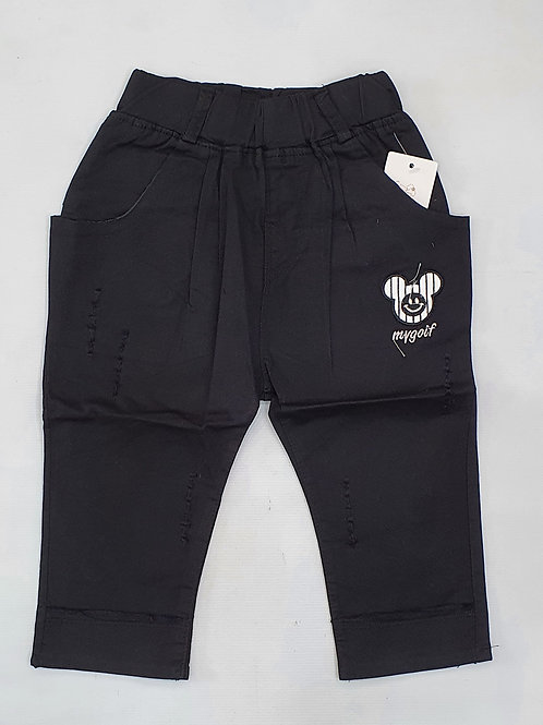 Girls Black Quarter Pants